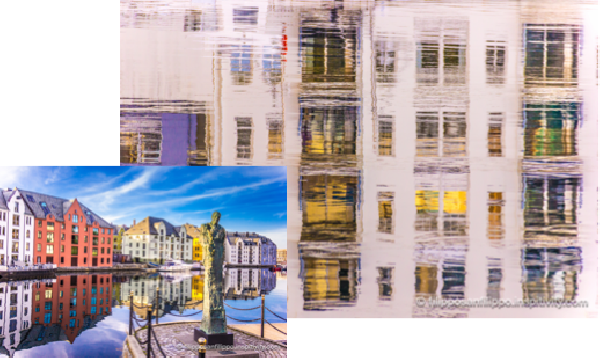 Ålesund in a Mirror, water reflection photography can change an image into a work of art