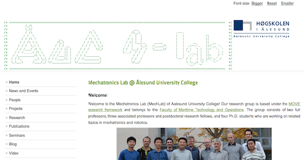 Website for the Mechatronics and all AMO Laboratories at Aalesund University College