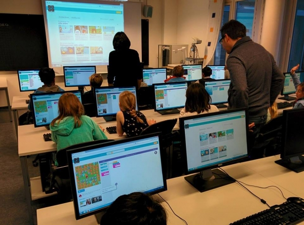The Hour of Code with the little students from Aalesund International School